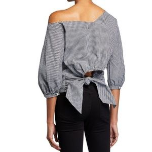 FRAME Asymmetric Gingham Tie-Back Top